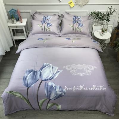 2020新款60长绒棉磨毛四件套 1.8m床单款 初爱紫