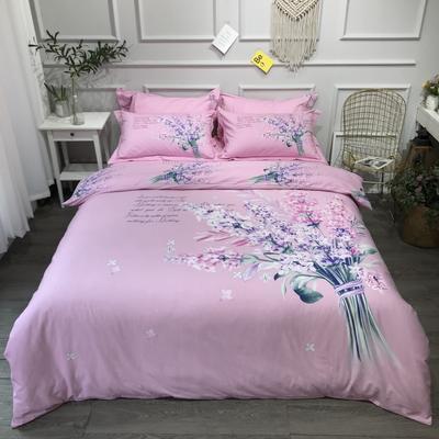 2020新款纯棉磨毛-大版花系四件套 1.5m床单款 爱丽丝粉