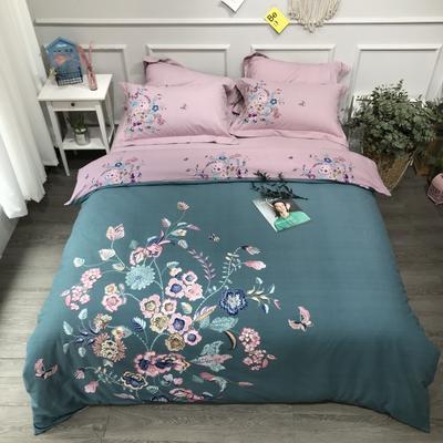 2020新款纯棉磨毛-大版花系四件套 1.5m床单款 爱丽丝绿
