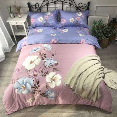 2020新款纯棉磨毛-大版花系四件套 1.5m床单款 香颂紫