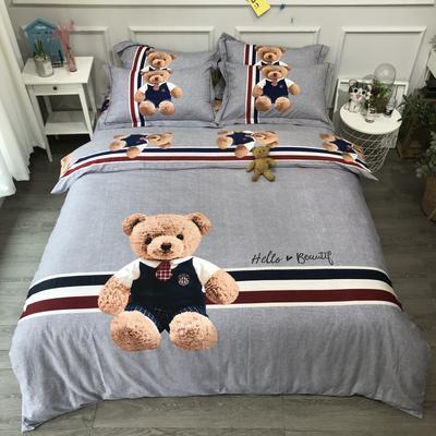 2020新款纯棉磨毛-卡通系四件套 1.5m床单款 星光熊