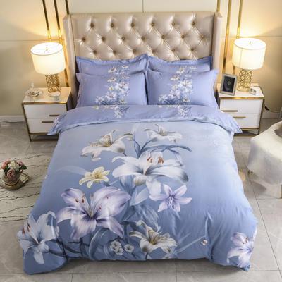 2020纯棉60长绒棉磨毛四件套 1.5m床单款 花之蔓蓝