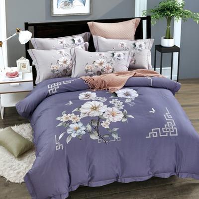 2020纯棉磨毛-大版花四件套 2.0m床单款 花前月下紫