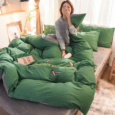 2020新款磨毛加水晶绒四件套 1.5m床单款 格致-绿