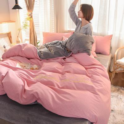 2020新款磨毛加水晶绒四件套 1.5m床单款 流年-芭蕾粉