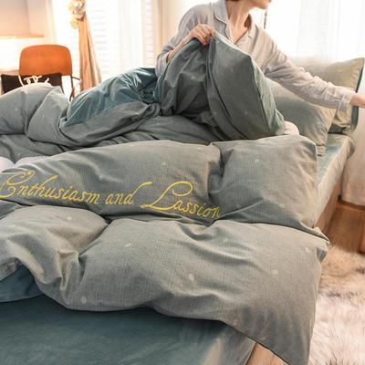 2020新款磨毛加水晶绒四件套 1.5m床单款 流年-绿点