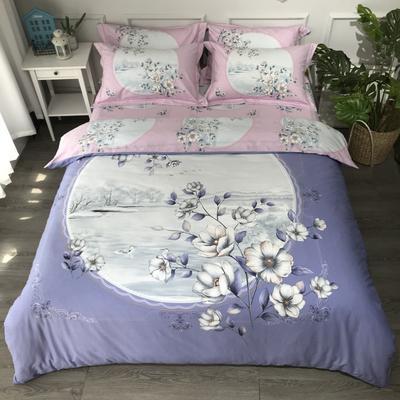 2019新款纯棉磨毛-大版花系四件套 2.0m床单款 玛丽亚兰