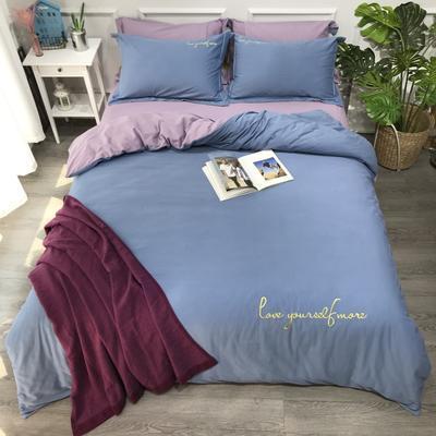 2020新款-活性生态纯色双拼磨毛四件套 床单款1.8m(6英尺)床 爱多-蓝