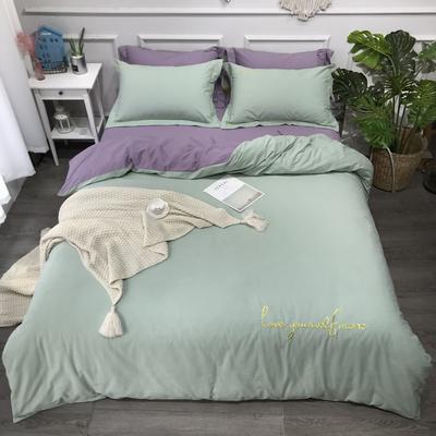 2020新款-活性生态纯色双拼磨毛四件套 床单款1.8m(6英尺)床 爱多-青