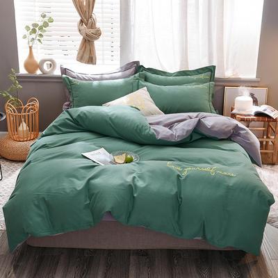 2020新款-生态磨毛纯色双拼四件套 床单款1.8m(6英尺)床 爱多 绿