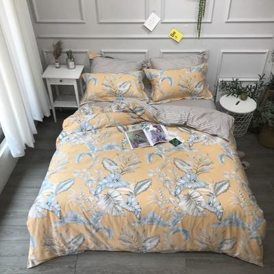 2020年全棉13372精梳棉四件套-圆网花卉 1.8m(6英尺)床 缤纷如梦黄