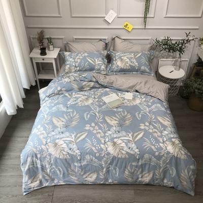 2020年全棉13372精梳棉四件套-圆网花卉 1.8m(6英尺)床 缤纷如梦兰
