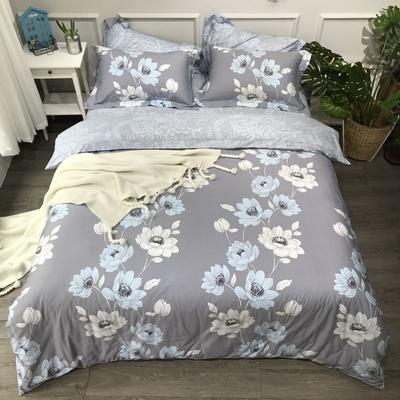 2020年全棉13372精梳棉四件套-圆网花卉 1.5m(5英尺)床 淡香入梦灰