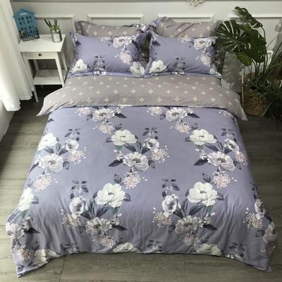 2020年全棉13372精梳棉四件套-圆网花卉 1.5m(5英尺)床 伊莲娜紫