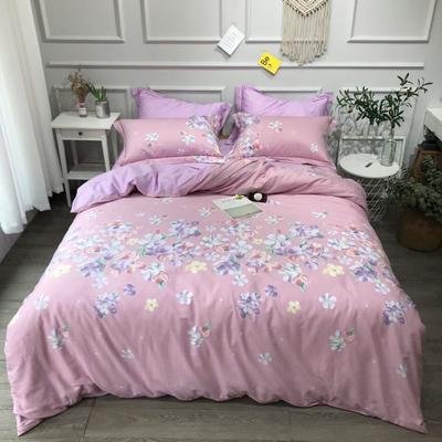 2020年全棉13372精梳棉四件套-圆网花卉 1.5m(5英尺)床 樱花满舞粉