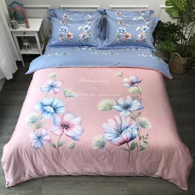 2020年全棉13372精梳棉四件套-大版花(第一波) 1.8m(6英尺)床 绚丽多姿粉