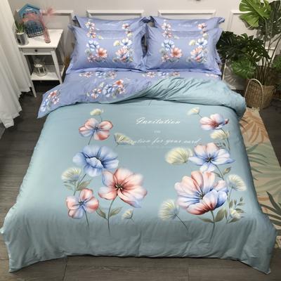 2020年全棉13372精梳棉四件套-大版花 1.5m(5英尺)床 绚丽多姿蓝