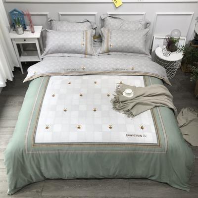 2020新款纯棉磨毛-大版花系四件套 2.0m床单款 蜂之恋绿