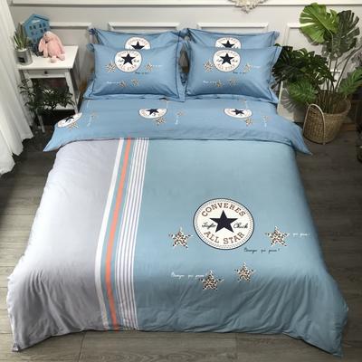2020年全棉13372精梳棉四件套-大版花 1.5m床单款 塞纳之星蓝