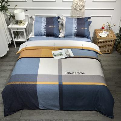 2020新款全棉磨毛四件套色块碰撞系列 1.8m(6英尺)床 精致生活