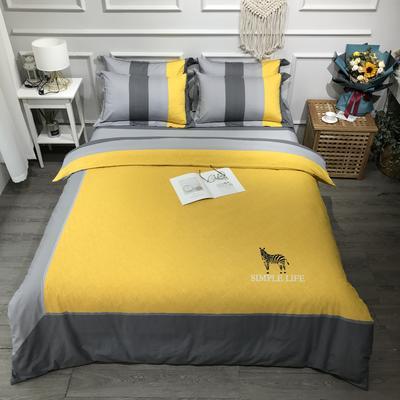 2020新款全棉磨毛四件套色块碰撞系列 1.8m(6英尺)床 唯一黄