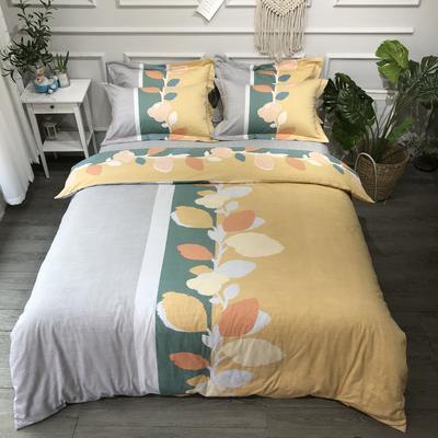2020新款全棉磨毛四件套色块碰撞系列 1.8m(6英尺)床 兴兴向荣橘