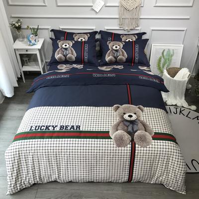 2020新款全棉磨毛四件套-卡通系 1.2m床单款三件套 幸运熊