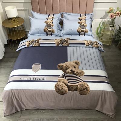 2020新款全棉磨毛四件套-卡通系 1.2m床单款三件套 熊熊乐园