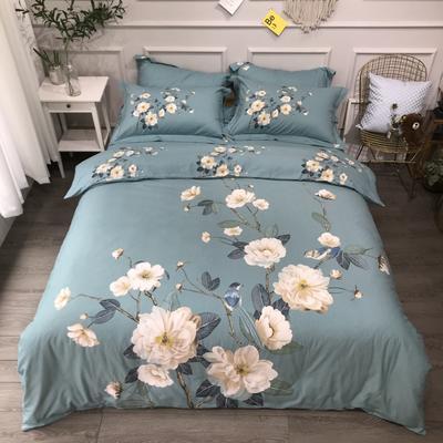 2020新款全棉磨毛四件套-花卉绿叶系 1.8m床单款四件套 鸟语花香