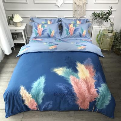 2020新款全棉磨毛四件套-花卉绿叶系 1.8m床单款四件套 轻诗梦语蓝