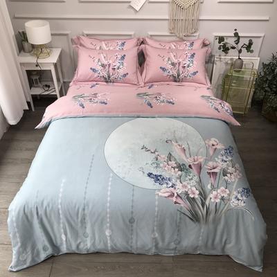 2020新款全棉磨毛四件套-花卉绿叶系 1.8m床单款四件套 如花似锦绿