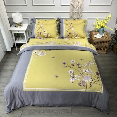 2020新款全棉磨毛四件套-花卉绿叶系 1.5m床单款四件套 苏茉尔黄
