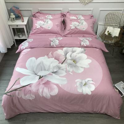 2020新款全棉磨毛四件套-花卉绿叶系 1.5m床单款四件套 万紫千红粉