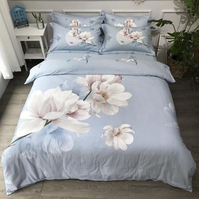 2020新款全棉磨毛四件套-花卉绿叶系 1.8m床单款四件套 万紫千红蓝