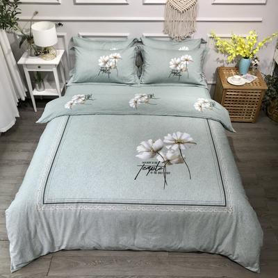 2020新款全棉磨毛四件套-花卉绿叶系 1.5m床单款四件套 香颂绿