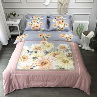 2020新款全棉磨毛四件套-花卉绿叶系 1.8m床单款四件套 向阳花开