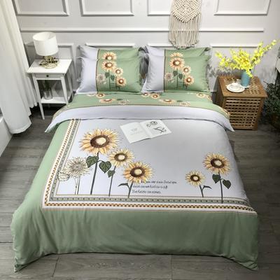2020新款全棉磨毛四件套-花卉绿叶系 1.8m床单款四件套 向阳花暖绿
