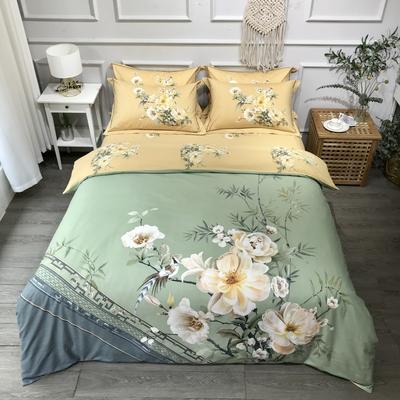 2020新款全棉磨毛四件套-花卉绿叶系 1.5m床单款四件套 云梦凝香