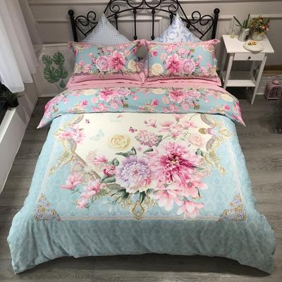 2020新款全棉磨毛四件套-花卉绿叶系 1.8m床单款四件套 静若繁花
