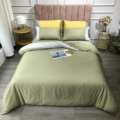 2020新款60长绒棉拼色酒店风系列四件套-实拍图 1.8m床单款四件套 抹茶绿