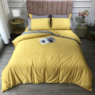 2020新款60长绒棉拼色酒店风系列四件套-实拍图 1.8m床单款四件套 柠檬黄