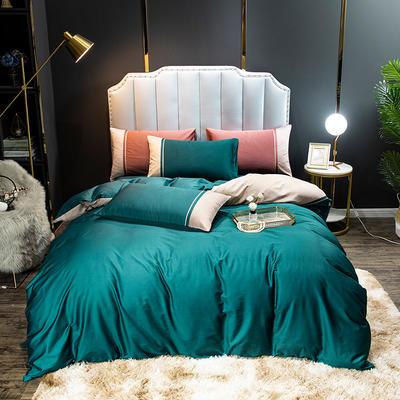 2020新款60长绒棉拼色酒店风系列四件套-棚拍图 1.8m床单款四件套 宝石绿