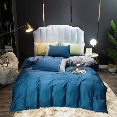 2020新款60长绒棉拼色酒店风系列四件套-棚拍图 1.8m床单款四件套 宾利蓝