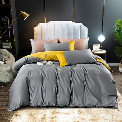 2020新款60长绒棉拼色酒店风系列四件套-棚拍图 1.8m床单款四件套 布鲁灰