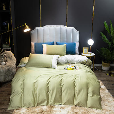 2020新款60长绒棉拼色酒店风系列四件套-棚拍图 1.8m床单款四件套 抹茶绿