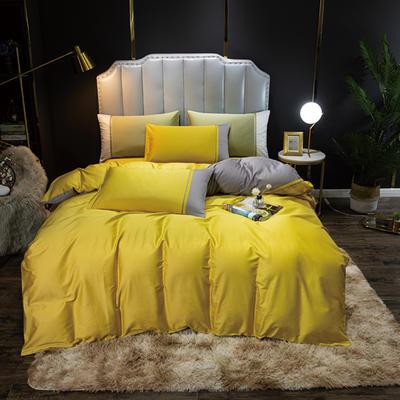 2020新款60长绒棉拼色酒店风系列四件套-棚拍图 1.8m床单款四件套 柠檬黄