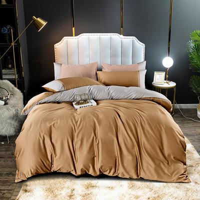 2020新款60长绒棉拼色酒店风系列四件套-棚拍图 1.8m床单款四件套 香槟金