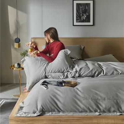 2020新款百支澳棉磨毛刺绣系四件套 1.8m床单款四件套 高级灰