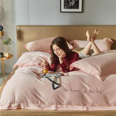 2020新款百支澳棉磨毛刺绣系四件套 1.8m床单款四件套 少女粉