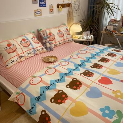 2021新款13372全棉活性甜梦系四件套1 1.5m床单款四件套 花儿与熊